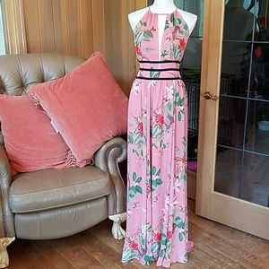 NWOT Express floral strappy side plunge maxi dress